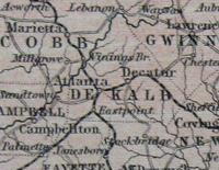 1850 Map of Georgia and Florida