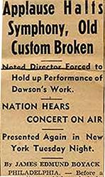 Newspaper Clipping of Dawson's Symphony