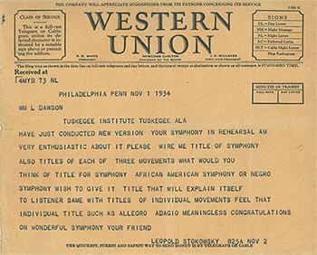 Telegram to Dawsom from Stokowsky
