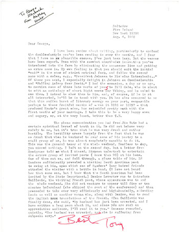 Hecht Letter to George Starbuck
