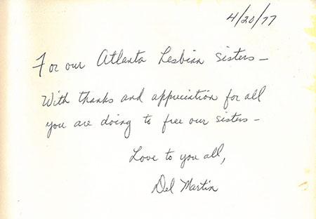 Del Martin Inscription