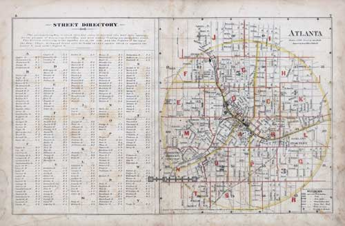 Street Directory, Atlas of Atlanta 1878