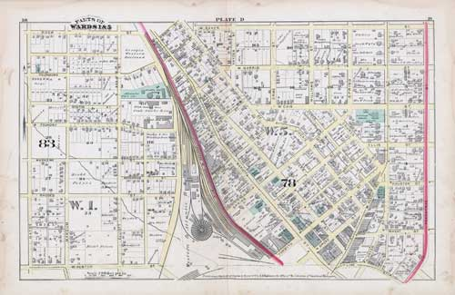 Plate D of 1878 Atlas of Atlanta