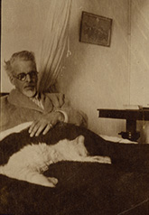 Photograph of W.B. Yeats with his cat