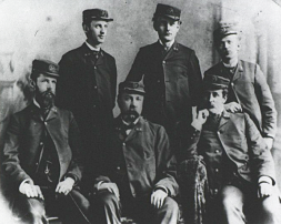 Six men are posed wearing the uniform of the Public Health Service in 1878.  Image from National  Library of Medicine