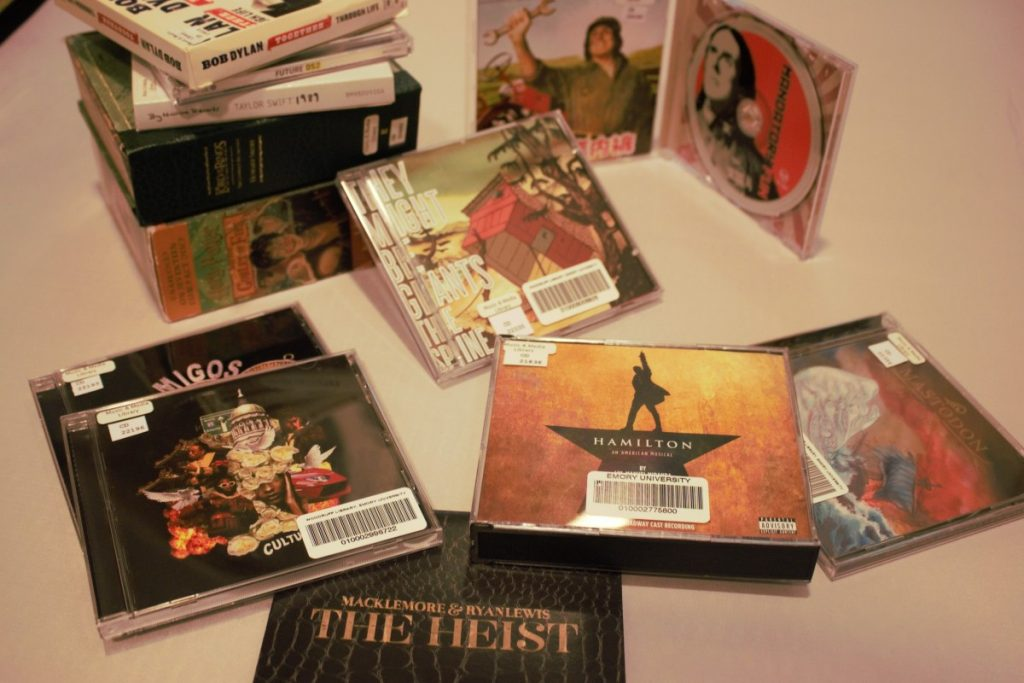 A small sample of recently acquired CDs at the Heilbrun Music and Media Library.