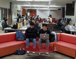 Students studying during exams at Woodruff Library