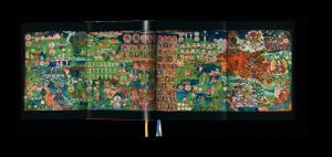 Murals of Tibet open to a scene