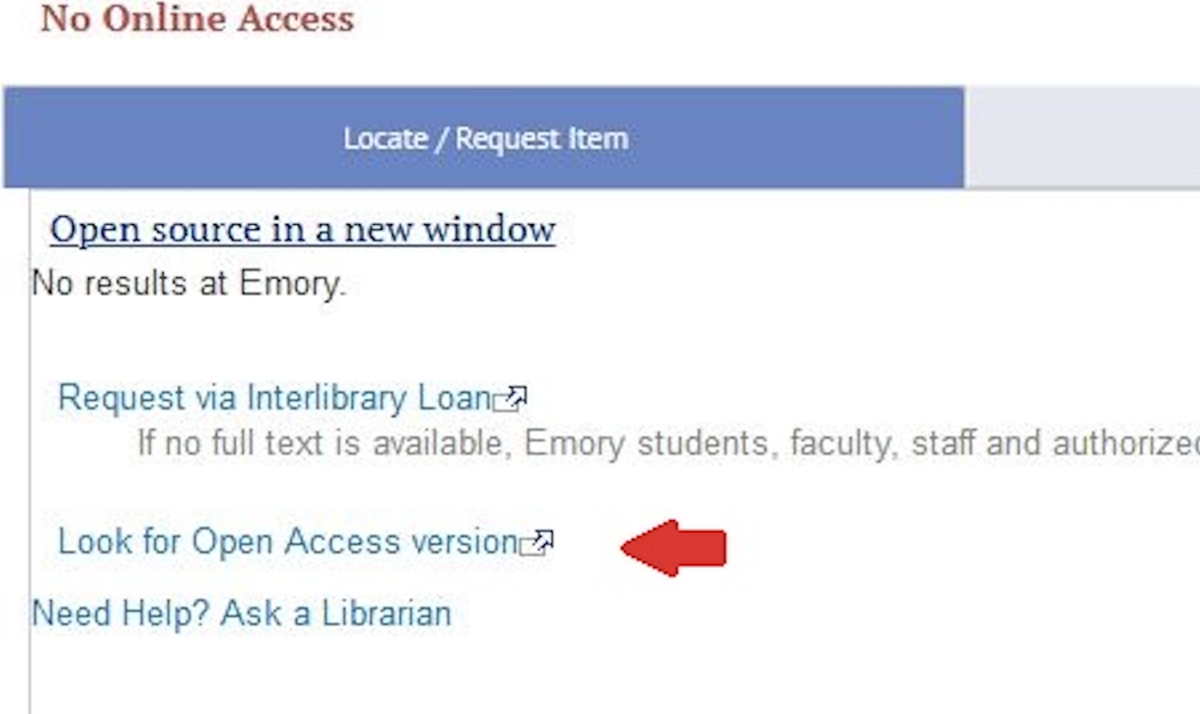 "Screen shot of ""Look for open access link"""
