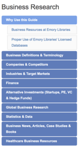 Left menu the Business Research Guide