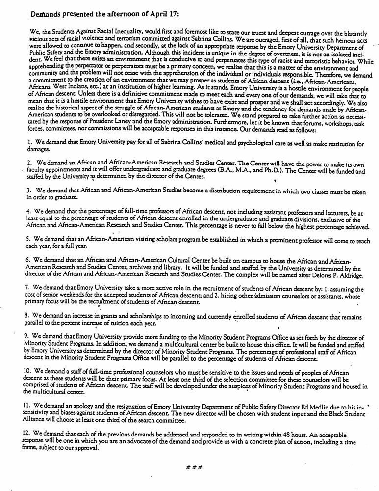 Demands presented by the Students Against Racial Inequality in 1990.