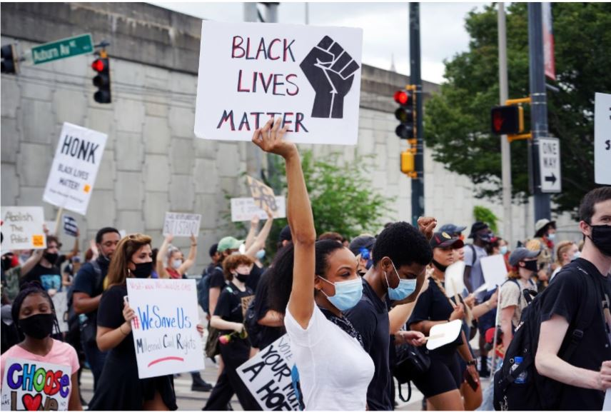 Black Lives Matter protesters at a recent gathering in Atlanta. Credit: Alli Royce Soble.