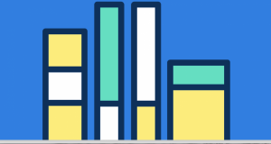 Book spines on a blue background