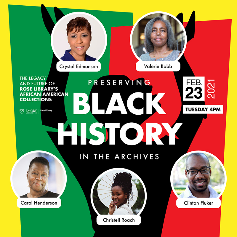 Graphic for Black History in the Archives with photos of panelists