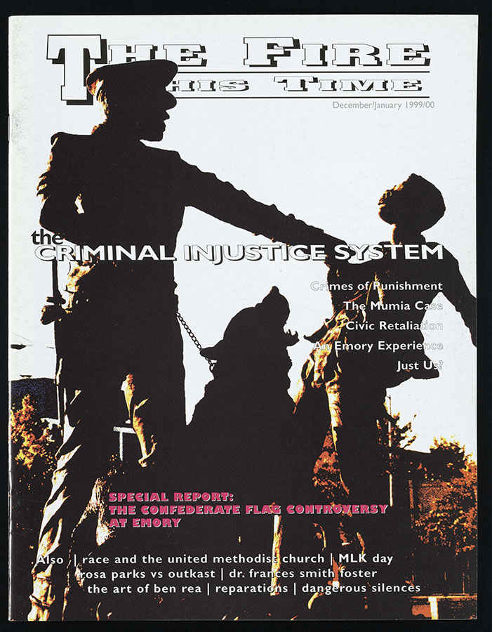 """Cover of """"The Fire This Time,"""" a Black student newspaper, issue dated Dec. 1999/Jan. 2000."""