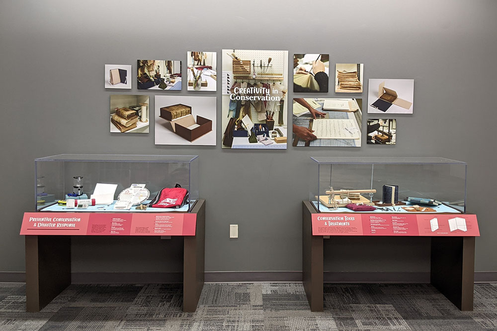 Creativity in Conservation exhibit with two cases of materials. Exhibit on Level 1 of Emory's Woodruff Library.