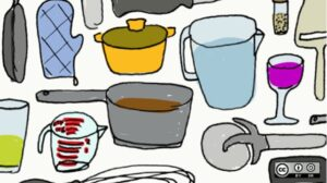 Drawing of pots, pitchers, glasses, and other kitchenware