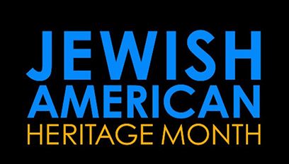 """Blue and gold text on black background that reads """"Jewish American Heritage Month"""""""