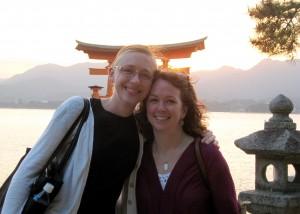 The leaders at Miyajima, off the coast of Hiroshima Credit: Adams